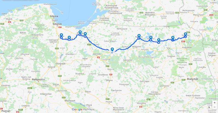 mapa trasy warminsko mazurskie